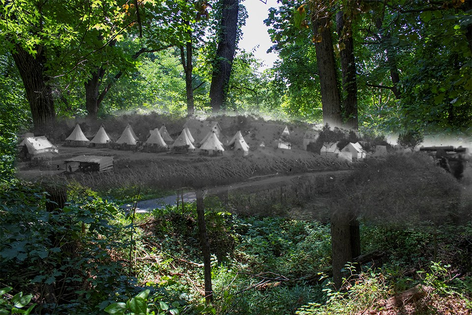 A historic image of Sibley tents overlaid on a modern image of a forest.