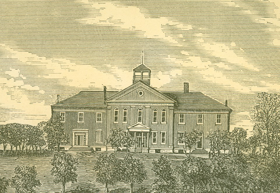 Engraving of large brick building, the sky, and trees to the side and front of the building
