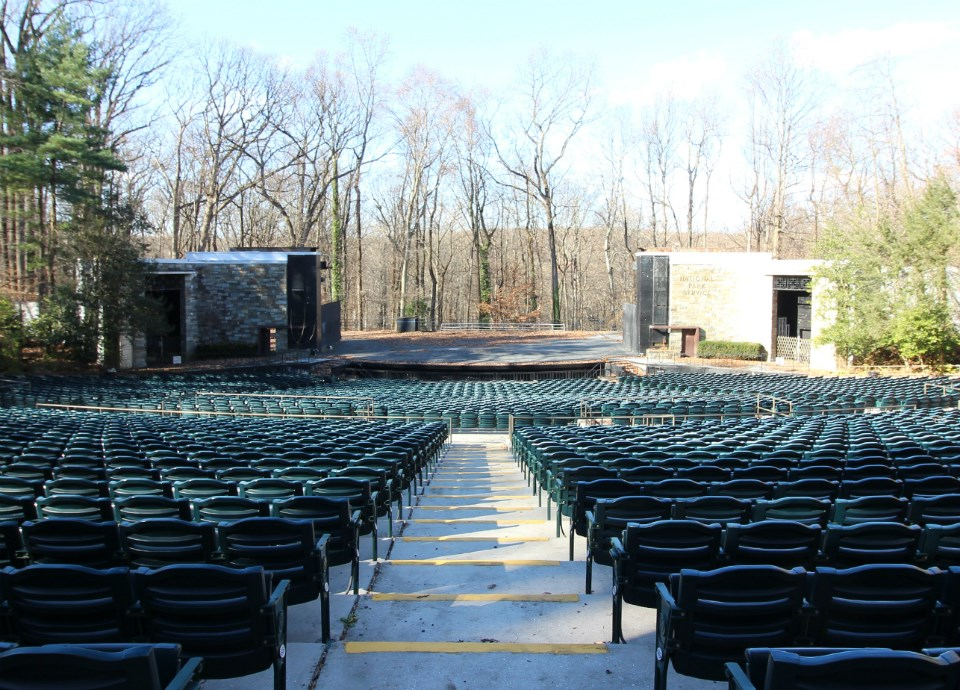 Color photo of the same stage and seating area
