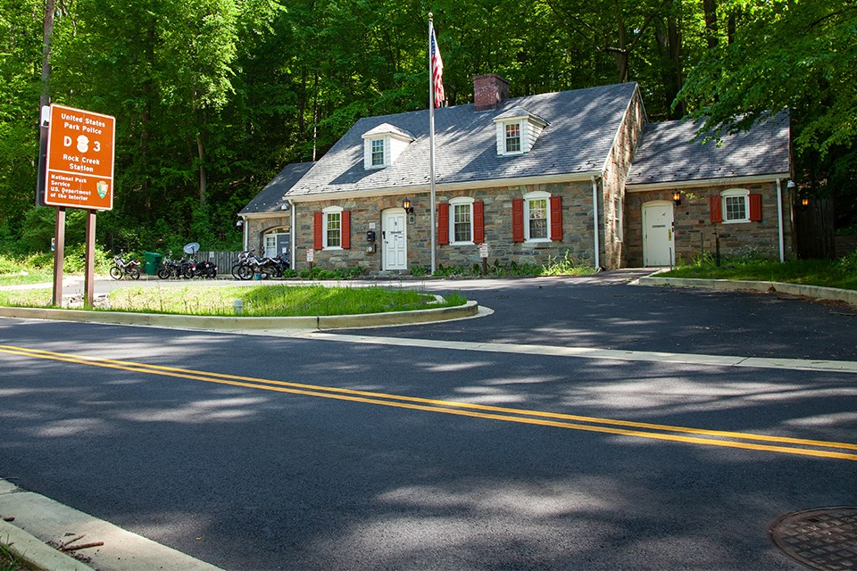 Smooth blacktop and new curbs near US Park Police Station in Rock Creek Park