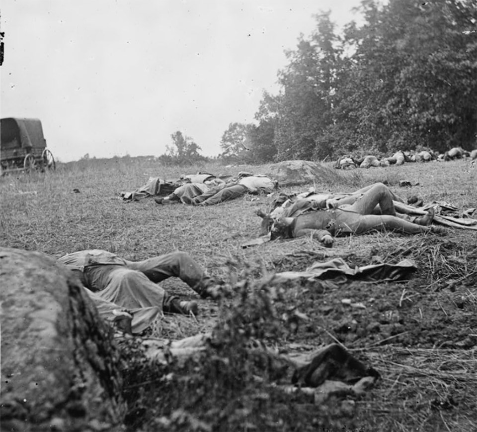 A row of dead bodies lay in an open field. A large boulder is in the lower left corner and small boulder is in the middle right.
