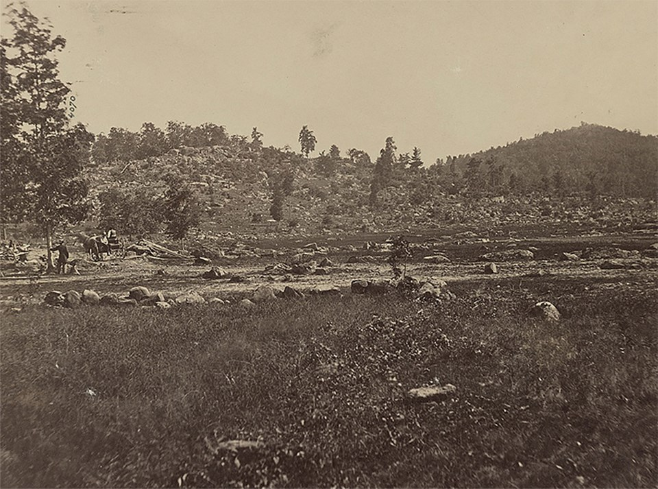 The two hills at the southern end of the battlefield are visible: Little Round Top on the left and Big Round Top on the right.