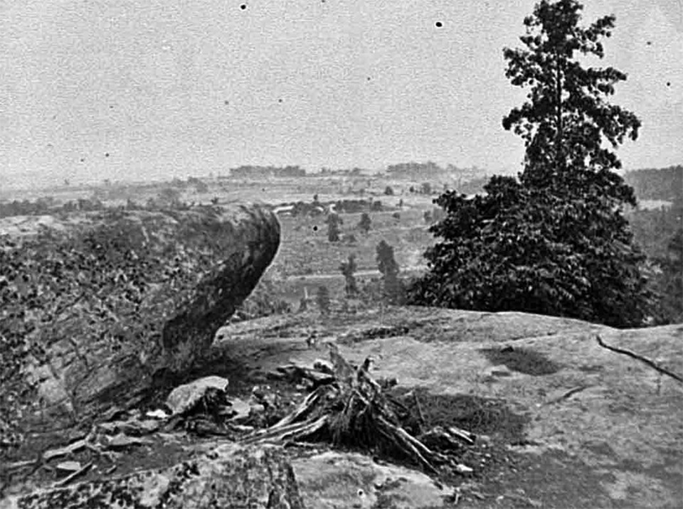 A large boulder is on the left and a pine tree is on the right in this black and white photo taken from the summit of Little Round Top.