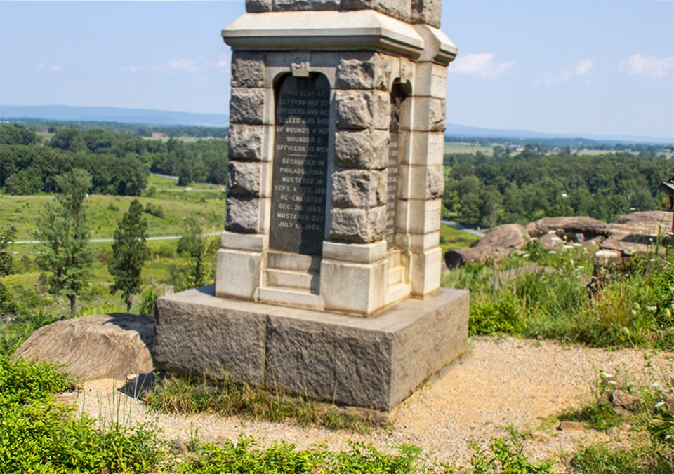 The 91st Pennsylvania monument stands at the summit of Little Round Top.