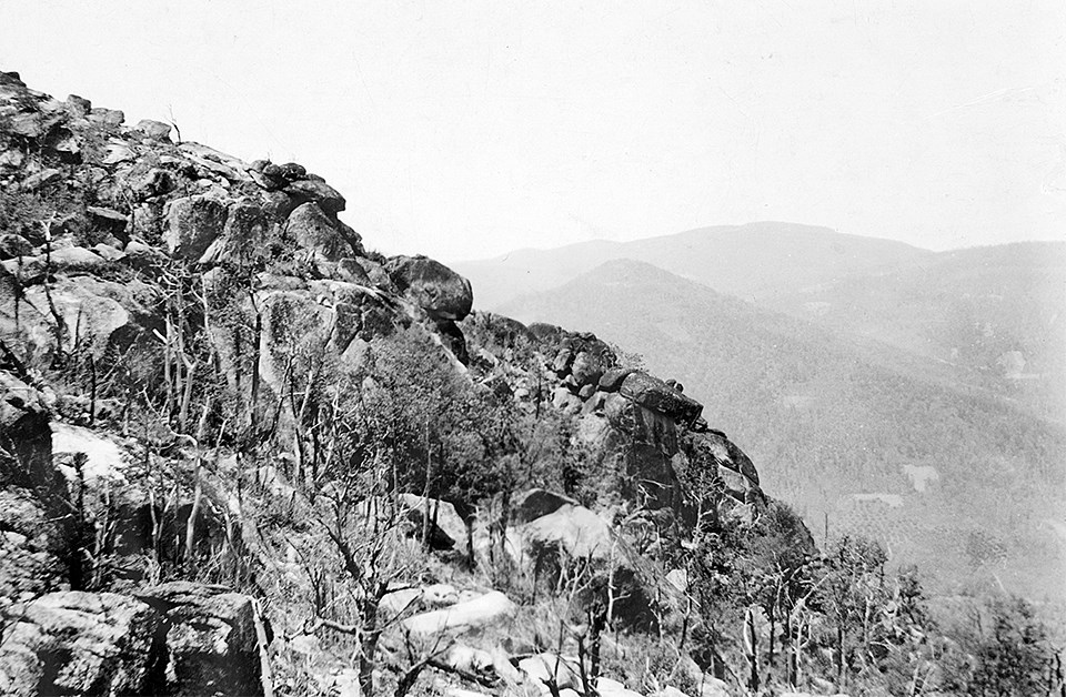 A black and white photograph of a mountainside.