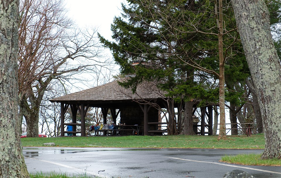 A color photograph of a picnic shelter.