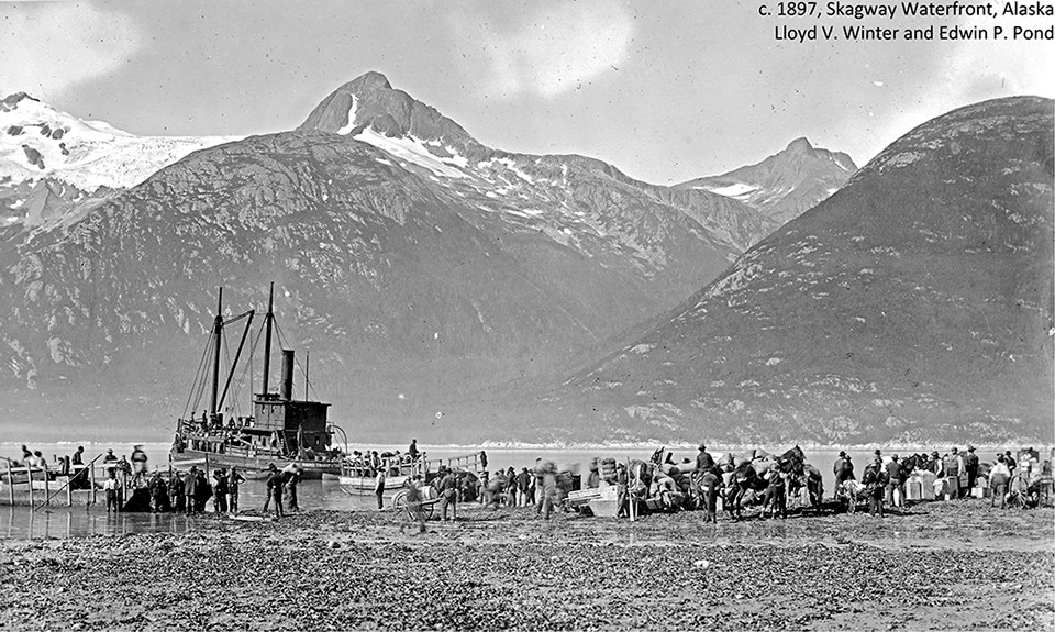 Historic black and white photo of Skagway