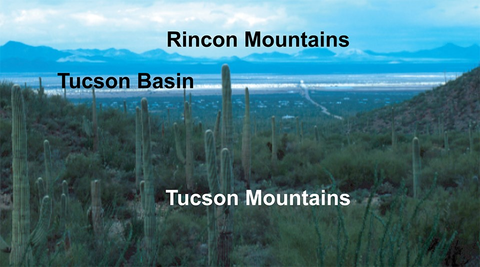 view of desert basin with cactus in foreground and features labeled