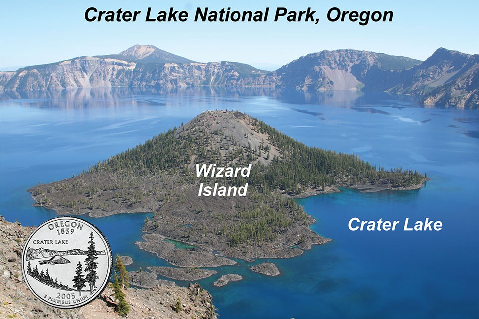 mountain top lake with volcanic cone island with labels