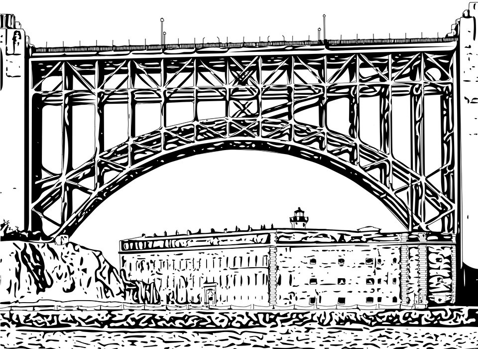 Drawing of Brick Fort framed by arched supports of Golden Gate Bridge