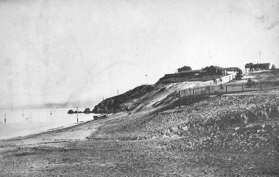 Photo of Fort Mason before the construction of piers, c. 1880s