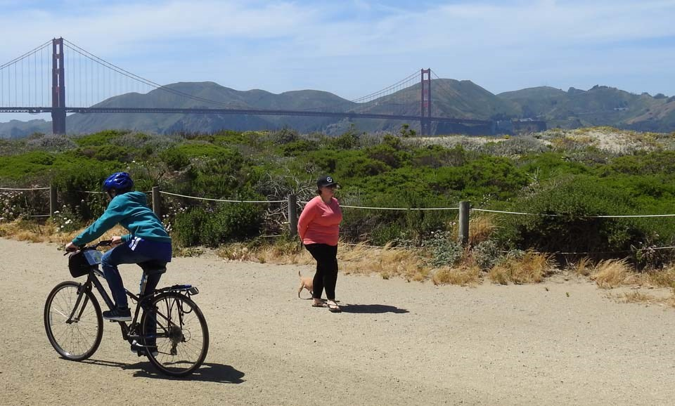cyclists with the golden gate bridge in the background