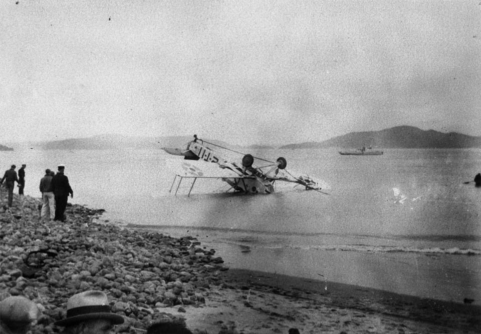 a wrecked plane sinking in the ocean