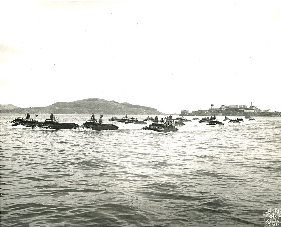 Photo of DUKWs in San Francisco Bay 1945