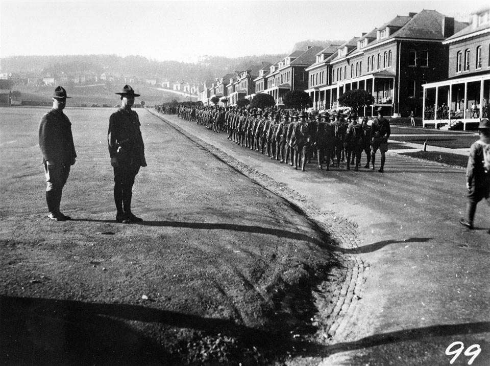 Photo of troops in the Presidio c1898