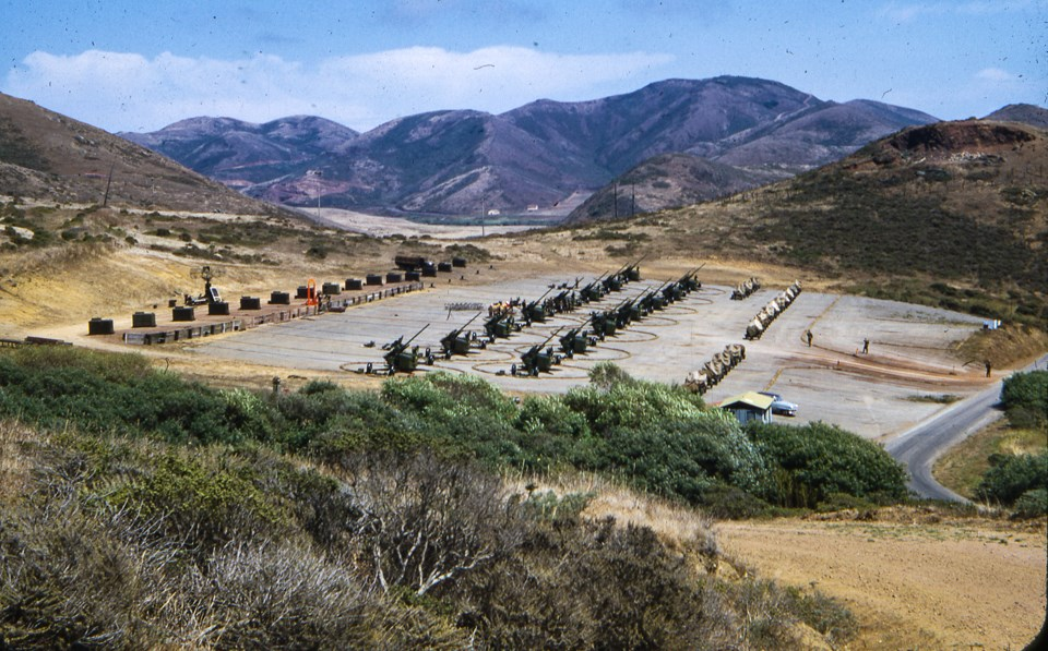 aerial view of artillery units