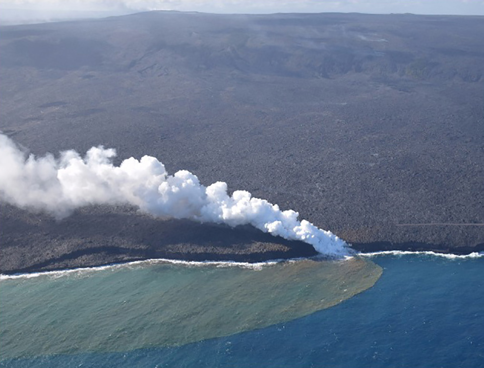 USGS overflight view of the episode 61G lava flow entering the ocean at Kamokuna on March 30, 2017