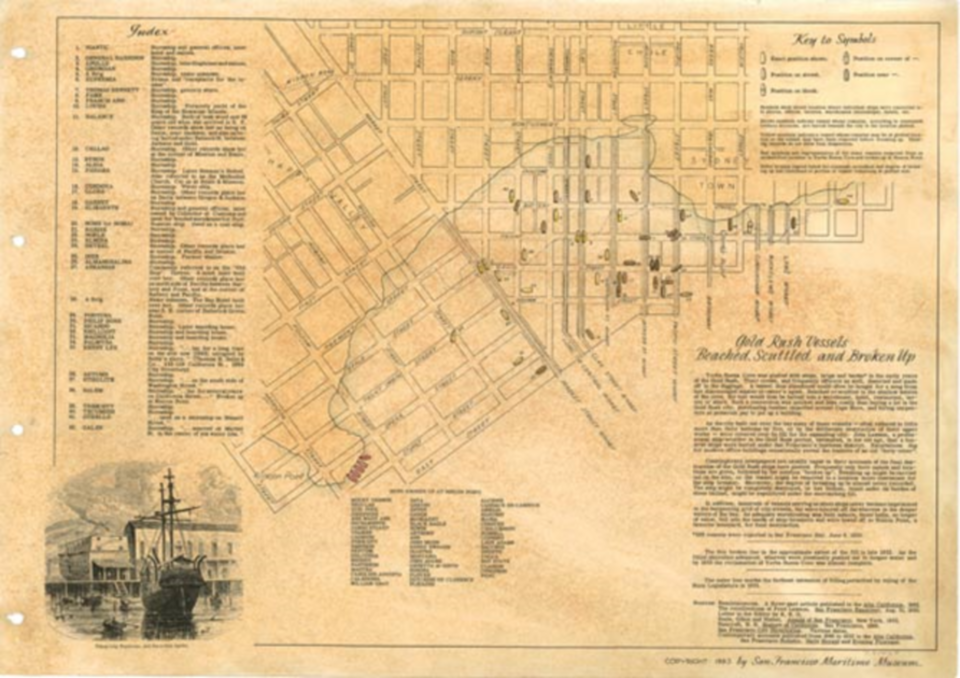 Map of cove in San Francisco showing original shoreline as well as contemporary streets with the locations of the ships,   textual notes, and black and white illustration of sailing ship and wharf
