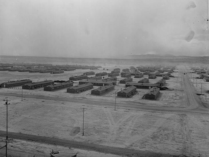 Aerial view of the Topaz War Relocation Center, Utah.