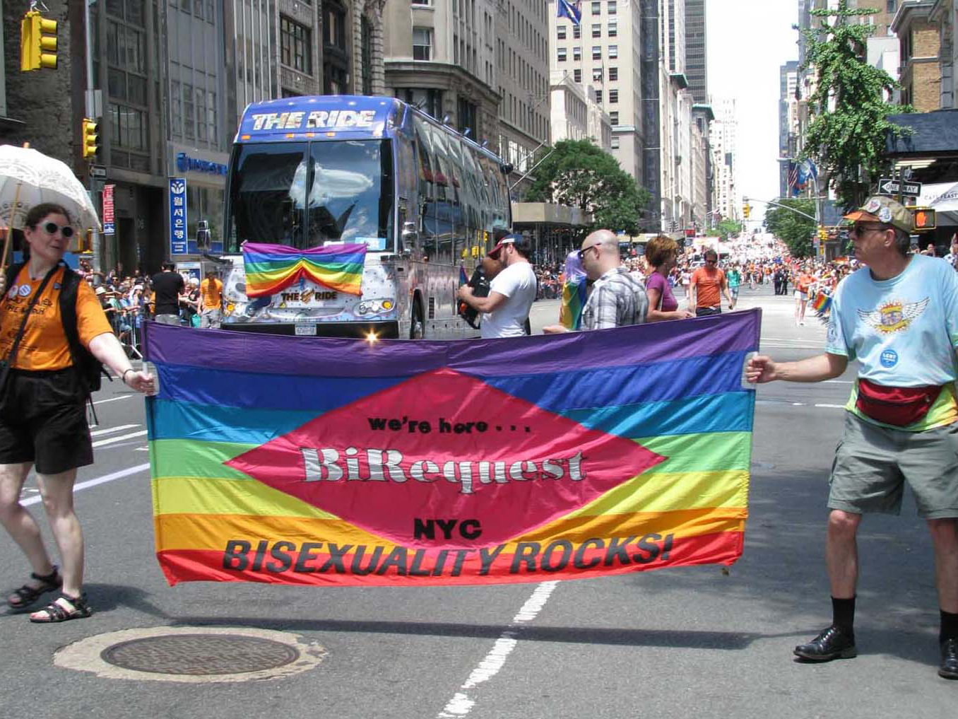 BiRequest/NYC Bisexuality Rocks contingent in the June 2012 Pride march in New York City