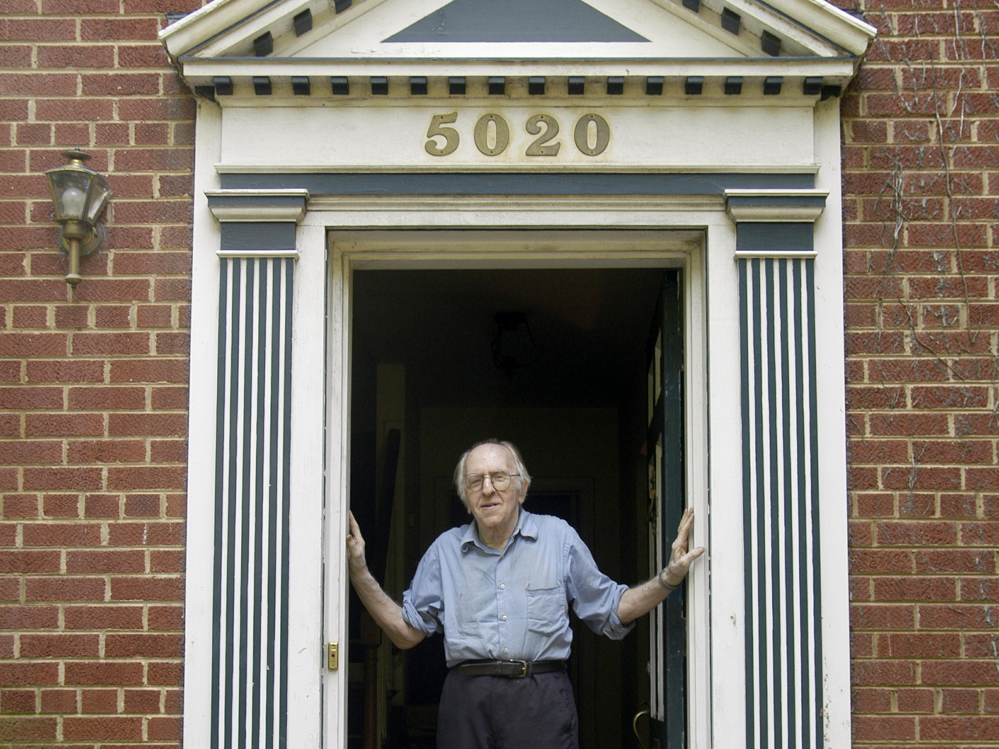 Dr. Franklin E. Kameny at the door to his Washington, DC, home and office