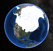 Reconstruction of North American ice sheets during the last ice age (20,000 years ago)