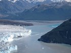 a large tidewater glacier nearly closing off a fjord