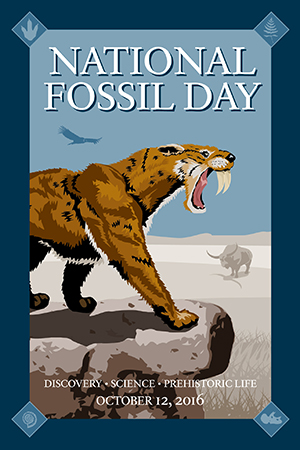 National Fossil Day 2016 artwork saber-toothed cat