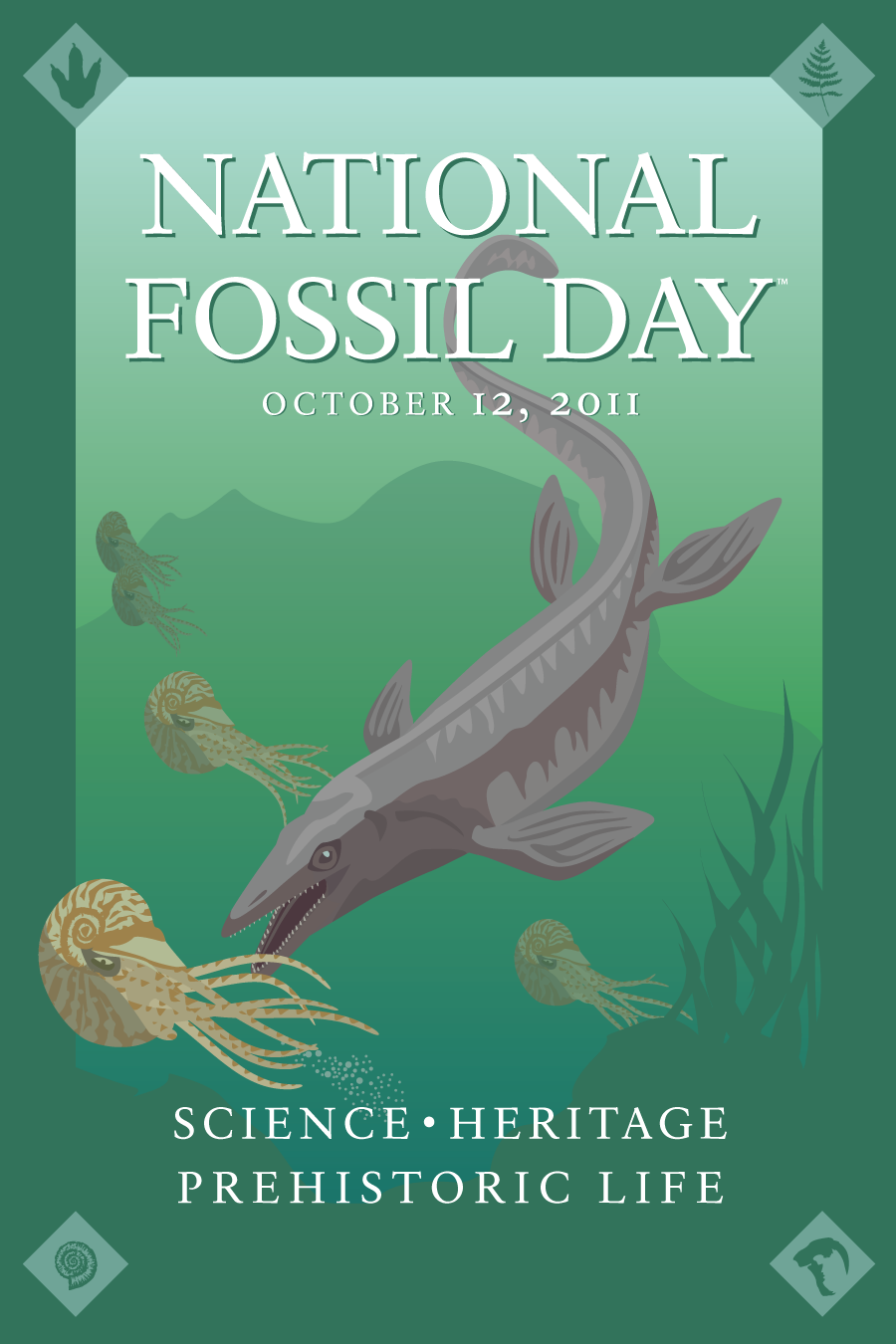 2011 NFD artwork poster with mosasaur