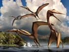 painting of four giant pterosaurs