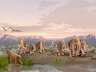 mural with pleistocene animals