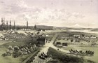 Lithograph showing Fort Vancouver on lower plain and military buildings and cannons on upper hill.