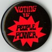 Red & black voting rights button. National Museum of American History, Smithsonian Institution