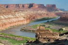 Fort Bottom ruin, the Colorado River, and Canyonlands