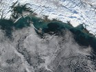 aerial view of coastal winter storm