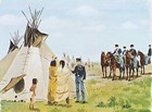 Dragoon Soldiers meeting with Native Americans at a tipi