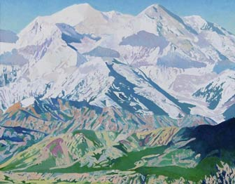 painting of a vast white mountain