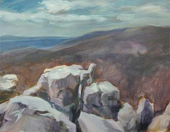 painting of rocky mountaintop overlooking hilly forest