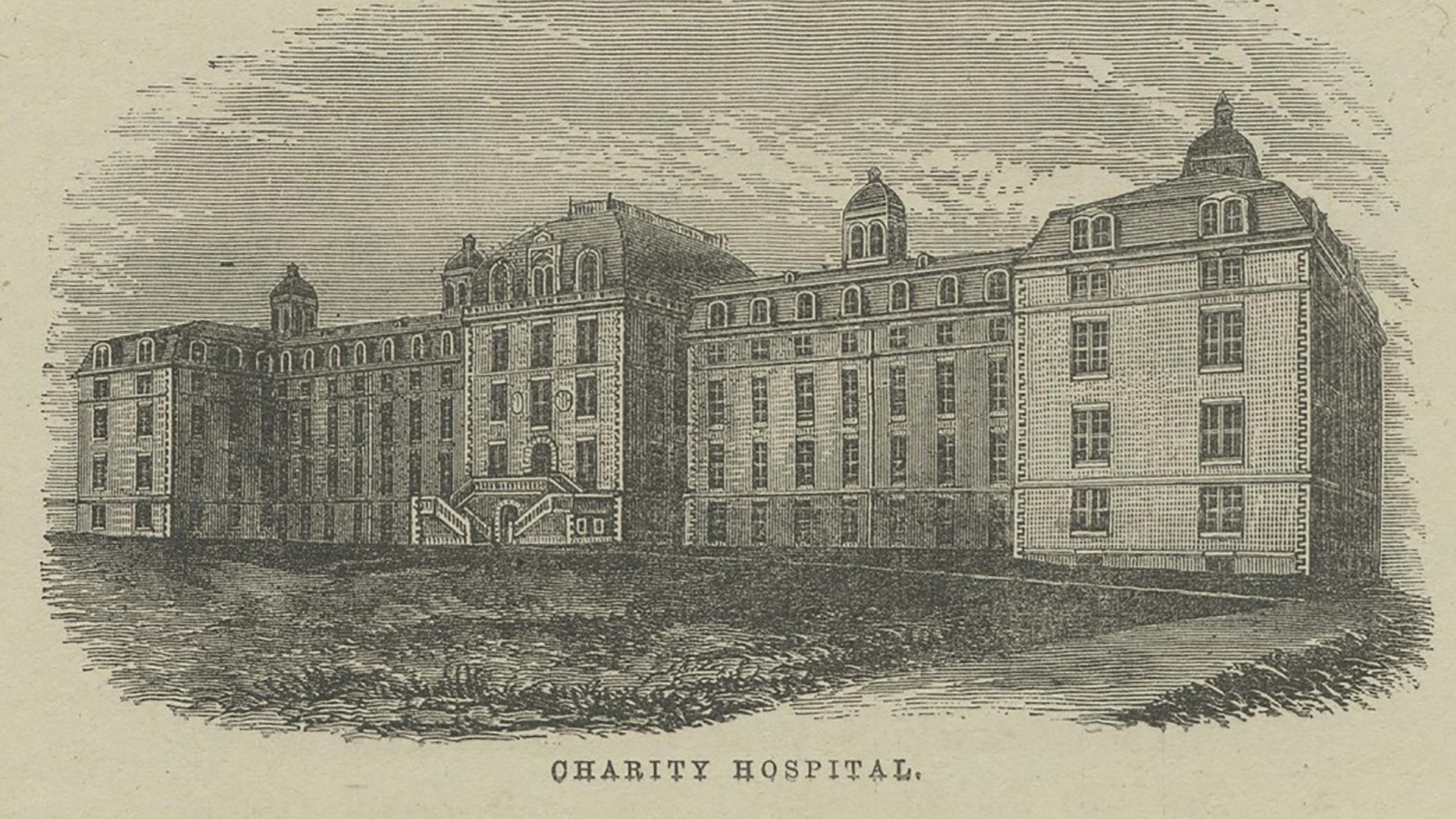 exterior of the hospital. NYPL image