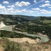 The Yellowstone River cuts an s-shaped curve through the valley near Tower Fall.