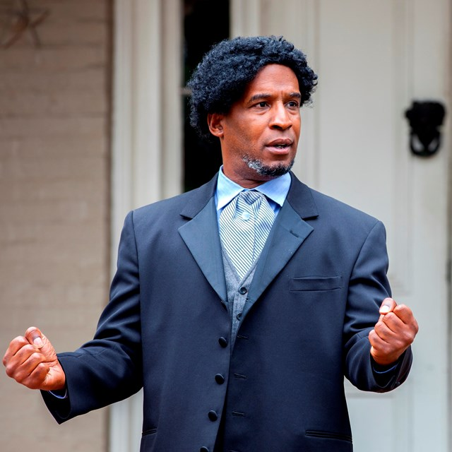 A man performs at an oratorical contest at Frederick Douglass National Historic Site.