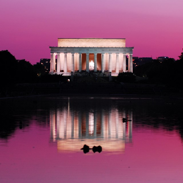 View of the Lincoln Memorial from the Reflecting Pond.