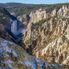 Lower Falls plunges into the yellowish-tan canyon.