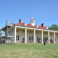A view of the back portico of the Mount Vernon Mansion