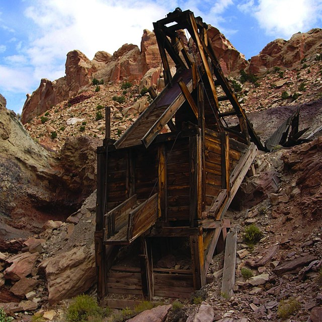 Headframe over inclined shaft at Duchess Mine, Capitol Reef National Park, Utah