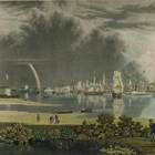 Painting of nineteenth century Charleston with harbor and ships in background