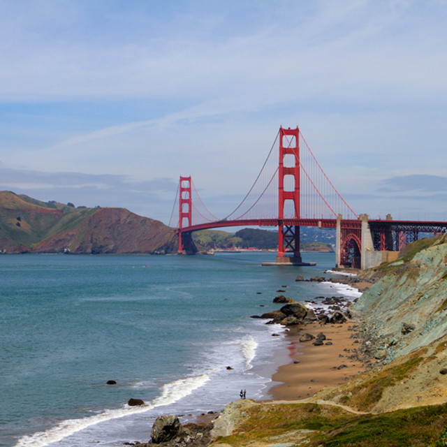 golden gate bridge with Marin Headlands and Presidio