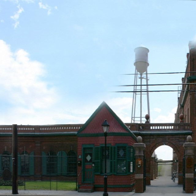 Front of the West Orange Lab Complex as seen from Main Street.  Original brick buildings from 1887.