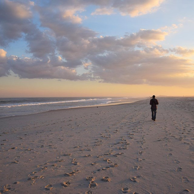 A man walks down the beach alone at sunset.