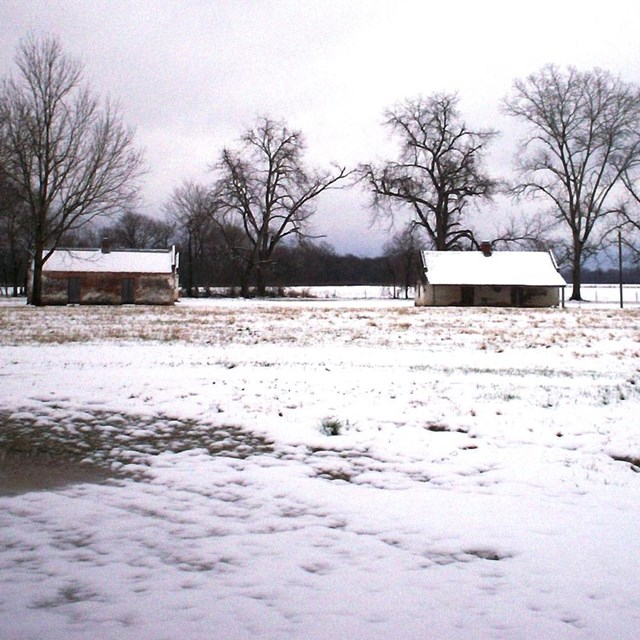 Historic slave cabins in snow-covered field